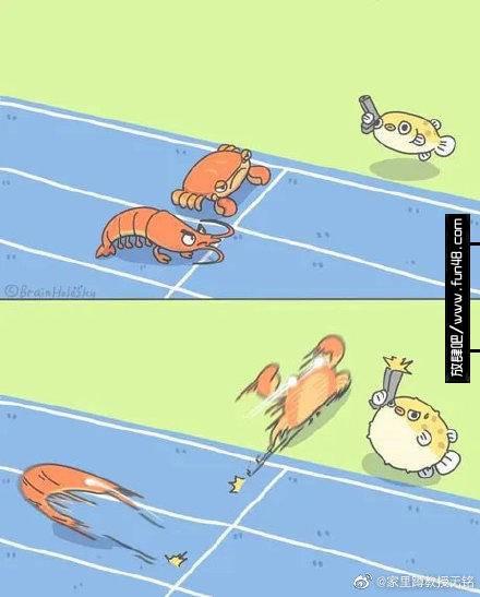 螃蟹虾和河豚发令赛跑